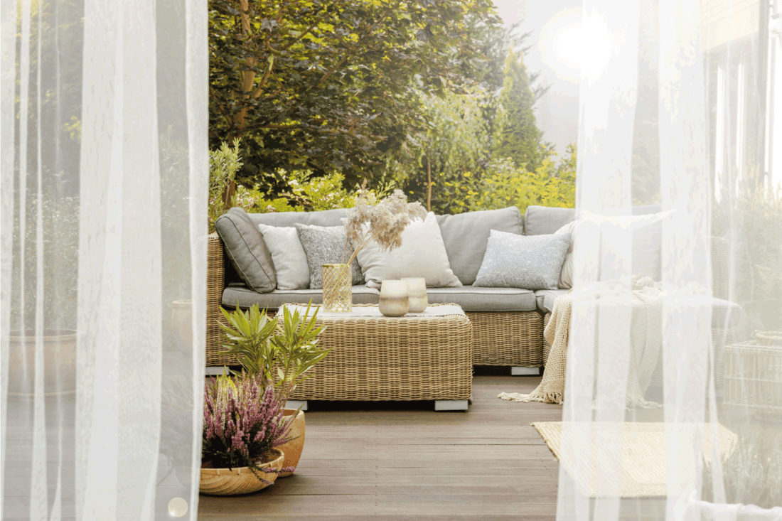 modern designed porch with Gauzy Curtains For A Romantic Look