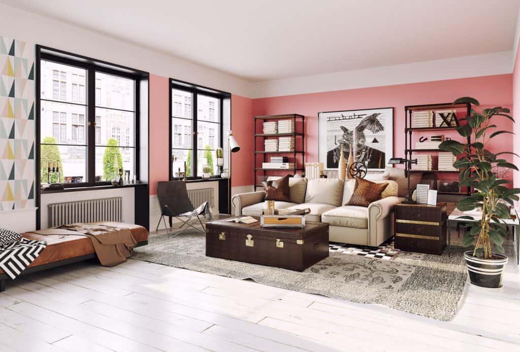 modern living room interior. Living coral design style