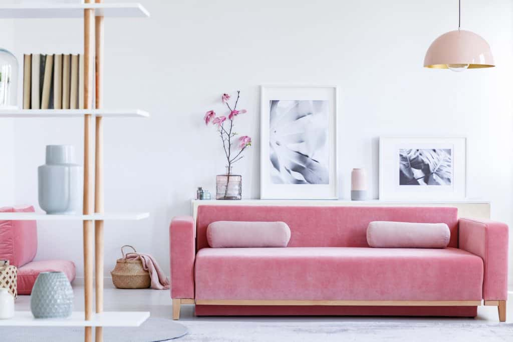 pink couch with pillows in front of a shelf with posters and flowers in bright living room interior