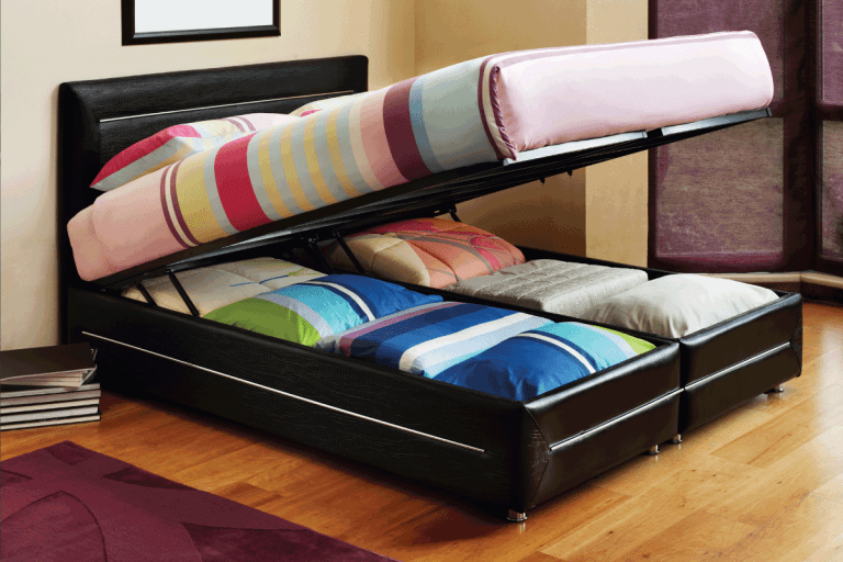 platform bed opened to show storage. Can You Put A Box Spring On A Platform Bed