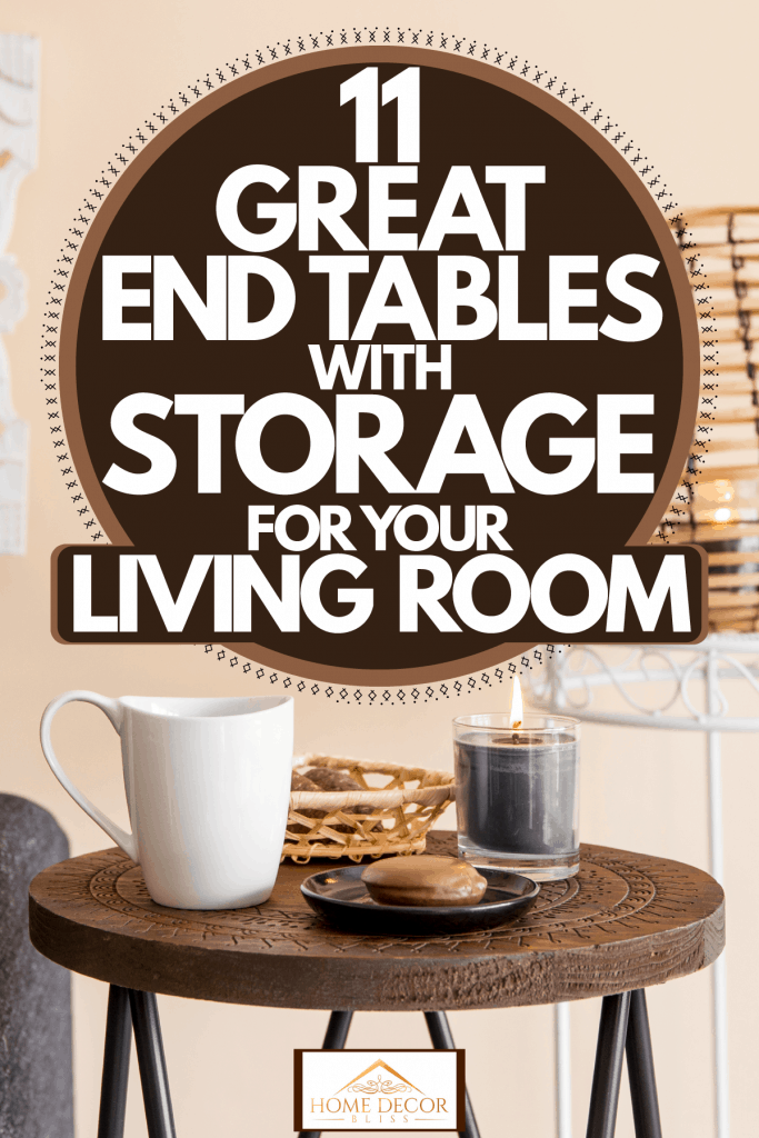 A small round end table on the side of a brown sectional sofa and a small rattan lamp on the back, 11 Great End Tables With Storage For Your Living Room