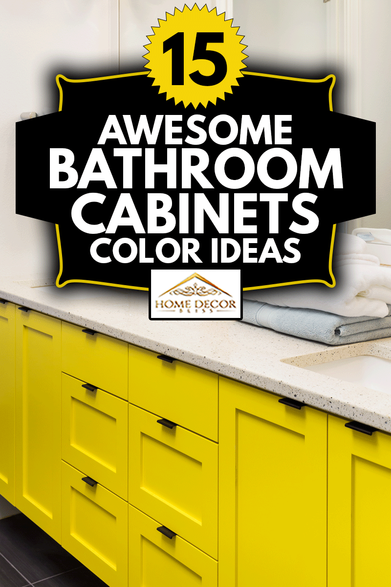 detail closeup of sink, faucet, countertop,yellow cabinets, and mirror, 15 Awesome Bathroom Cabinets Color Ideas
