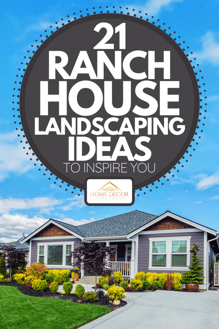 A modern custom single-level suburban home on a sunny day, 21 Ranch House Landscaping Ideas To Inspire You