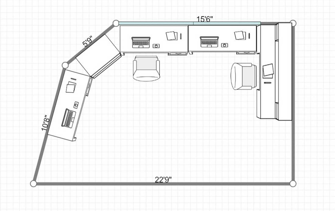2D layout of a bright home office with white cabinets and black office chairs