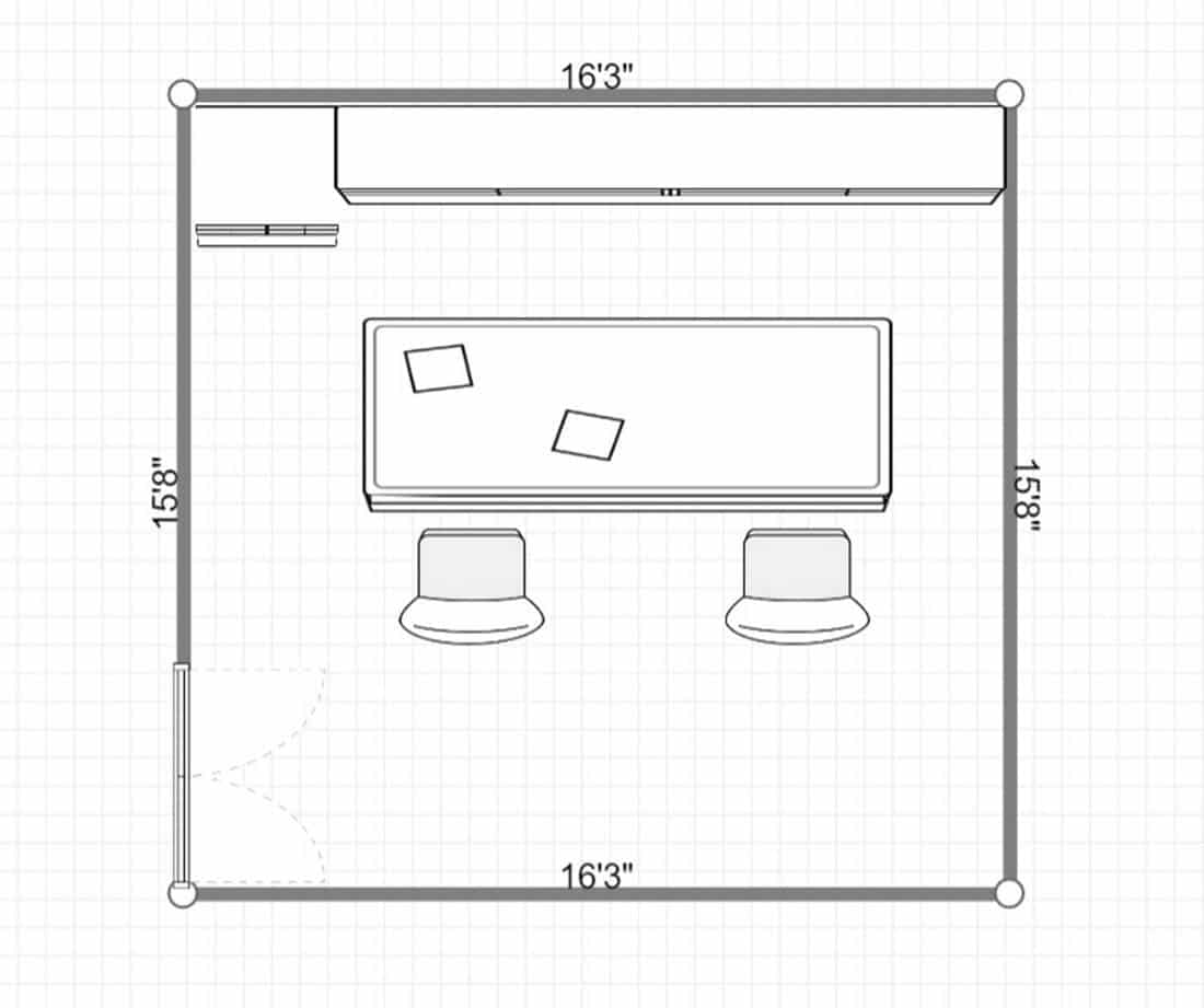 2D layout of a cozy modern kitchen with served table and chairs