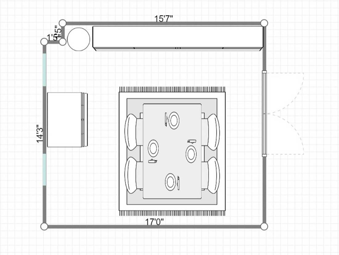 2D layout of a dining room in a modern kitchen
