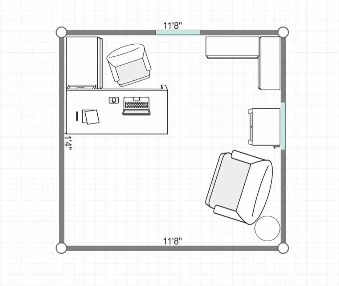 2D layout of a home office interior with green walls and wood