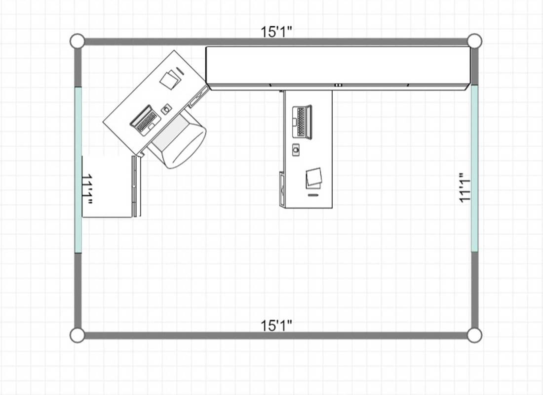 2D layout of a home office interior with tiled floor, white desk and cabinets