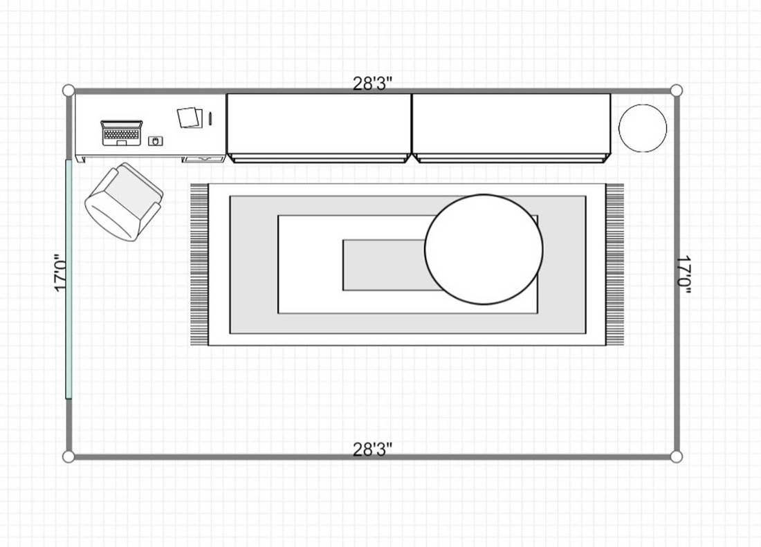 2D layout of a home office room with desk and sideboard against blue wall