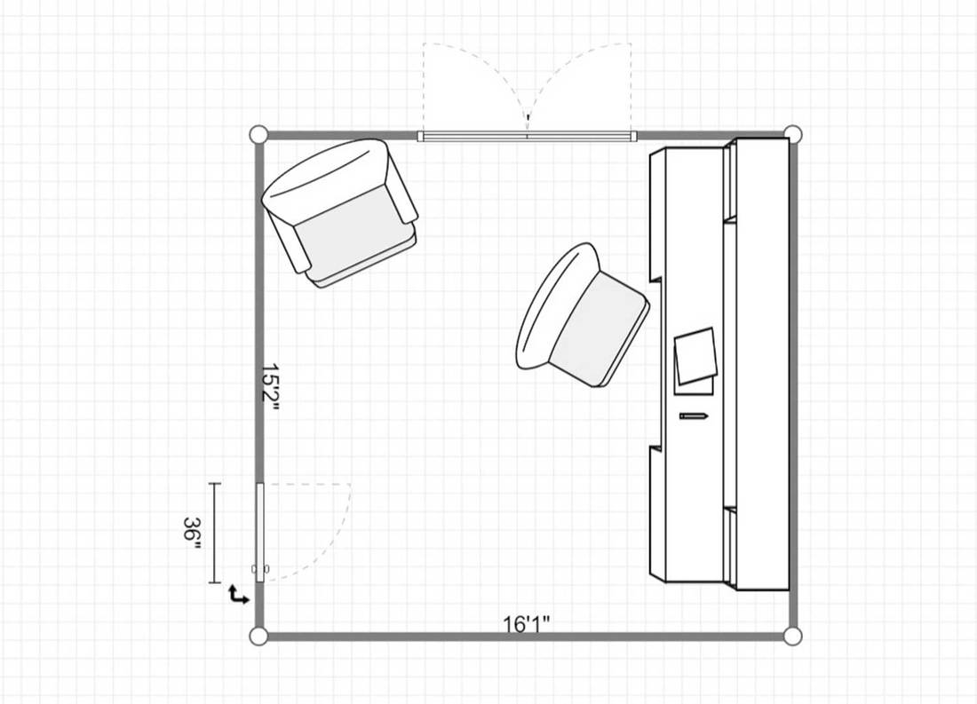 2D layout of a home office with white shelves and wood floor