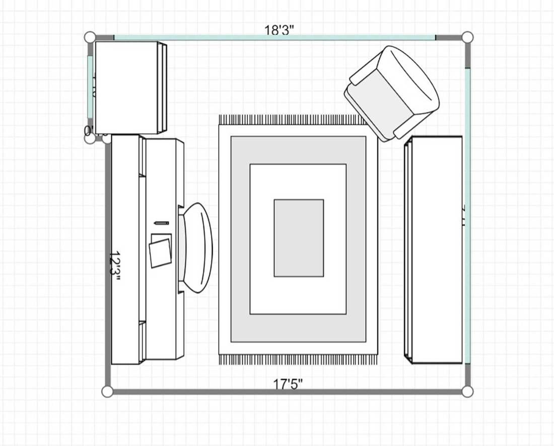 2D layout of a home office with wooden cabinets and hardwood floor
