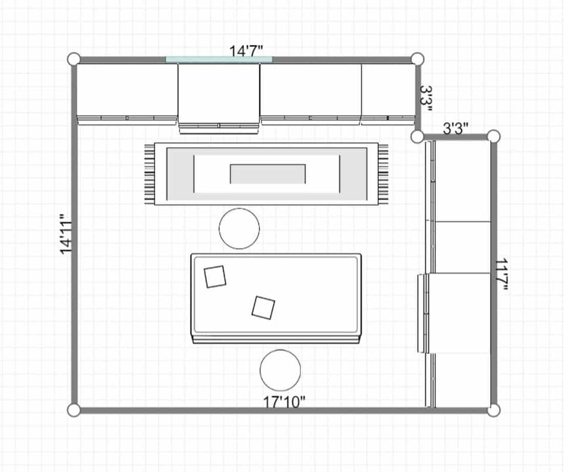 2D layout of a kitchen island with stools in cottage