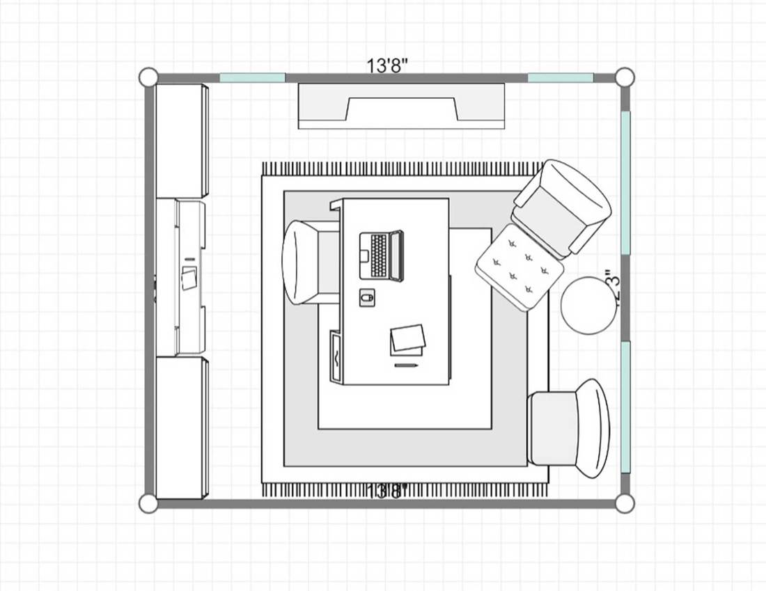 2D layout of a luxury home office interior with fireplace, wooden furniture and leather chairs