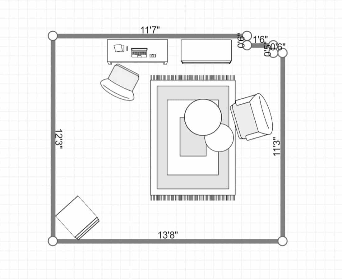 2D layout of a nature lover workspace with computer