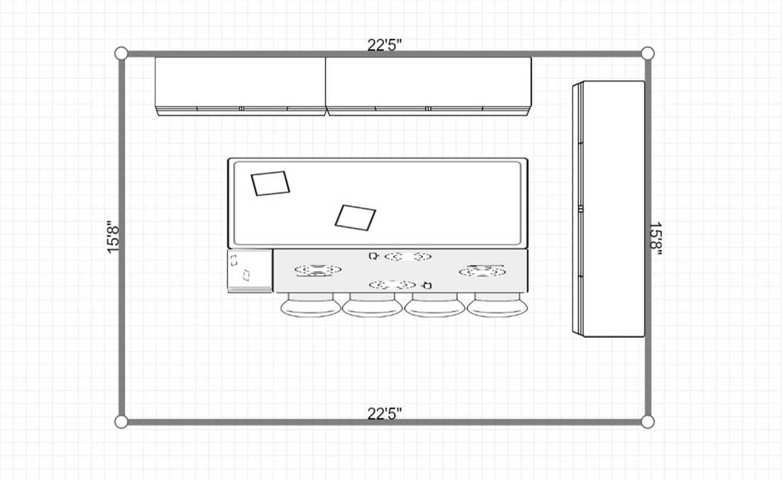 2D layout of a residential interior of modern kitchen in luxury mansion