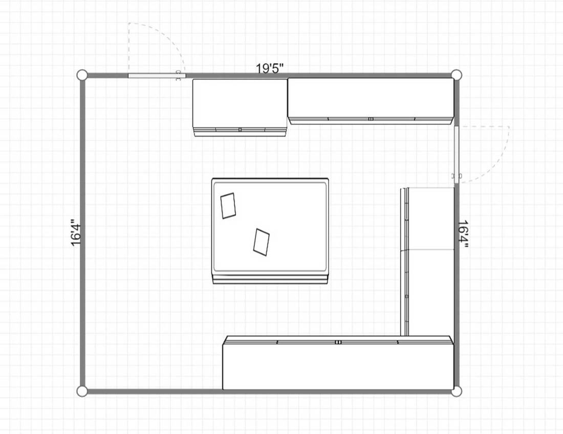 2D layout of a square shaped green kitchen with granite countertops and lots of cream colored cabinets with storage space