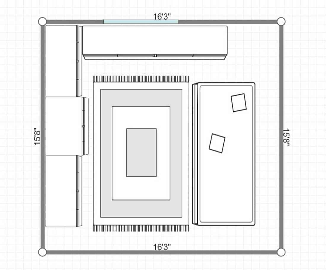 2D layout of dark cabinets and waterfall quartz countertops in unique kitchen
