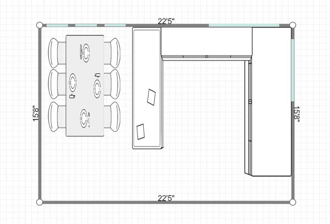 2D layout of modern kitchen interior design