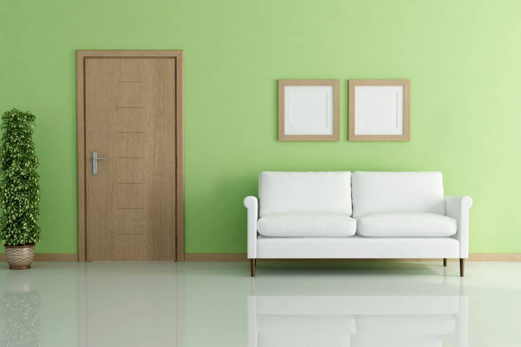 A contemporary inspired living room with mint green painted walls and a wooden door matching the trim and baseboard