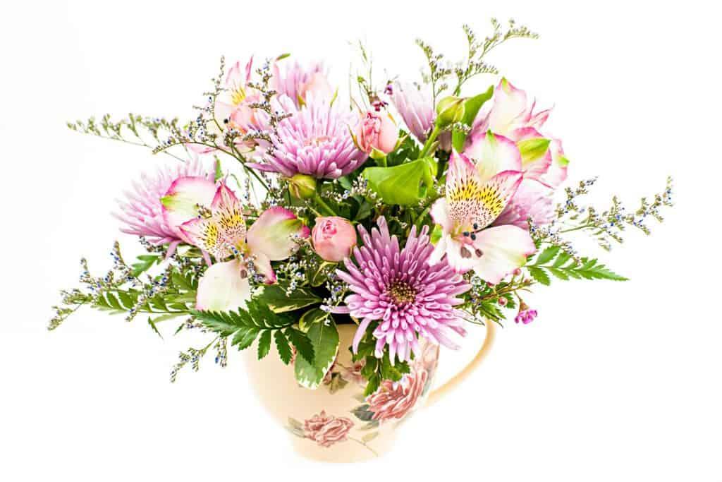 A gorgeous flower arrangement using different varieties of flowers
