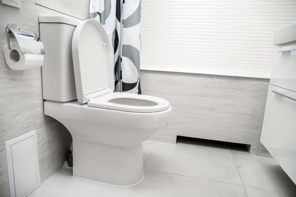 A photo of a toilet with the toilet cover left open