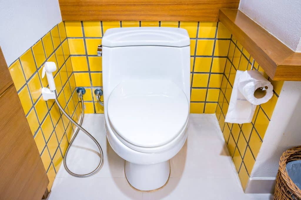 A small bathroom with a white toilet and a small bidet on the side