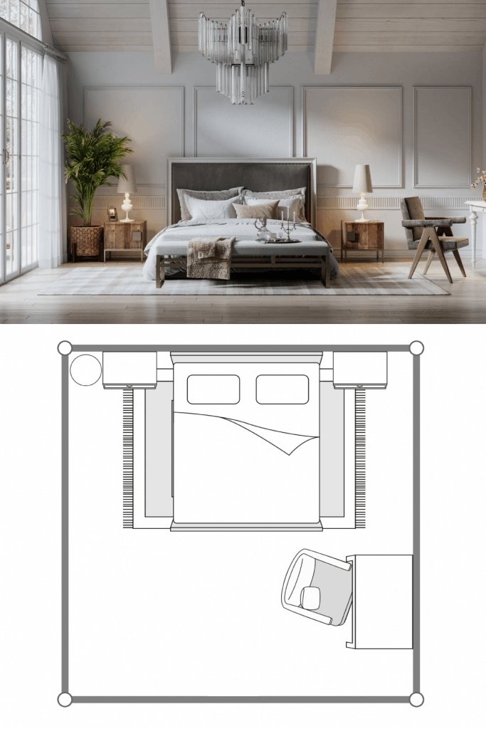 A spacious attic bedroom with flat paneled walls, a huge window on the side, and laminated flooring