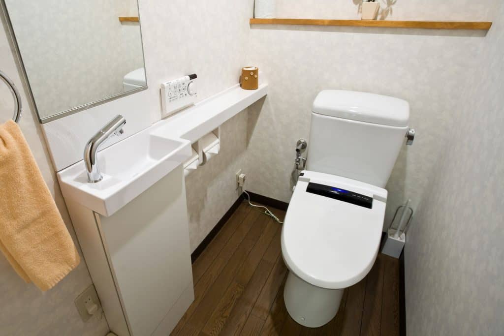 A tiny bathroom with a white toilet and small vanity