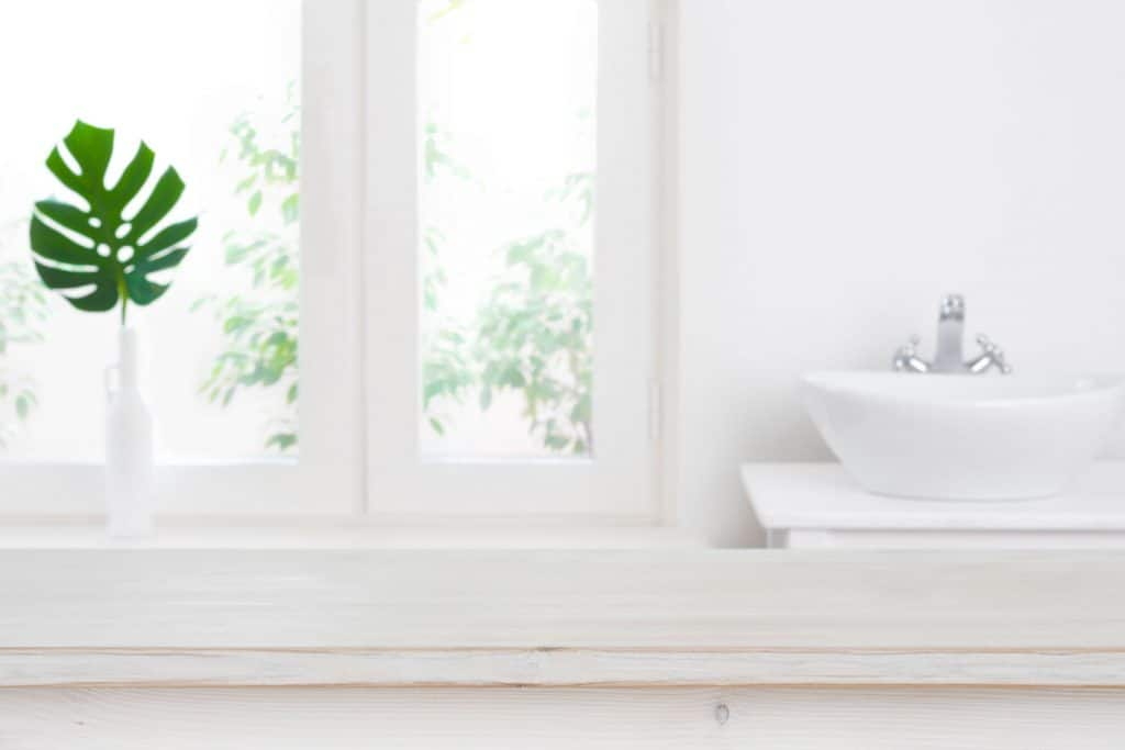 A white bathroom with a small leafy plant on the window sill and a white vanity