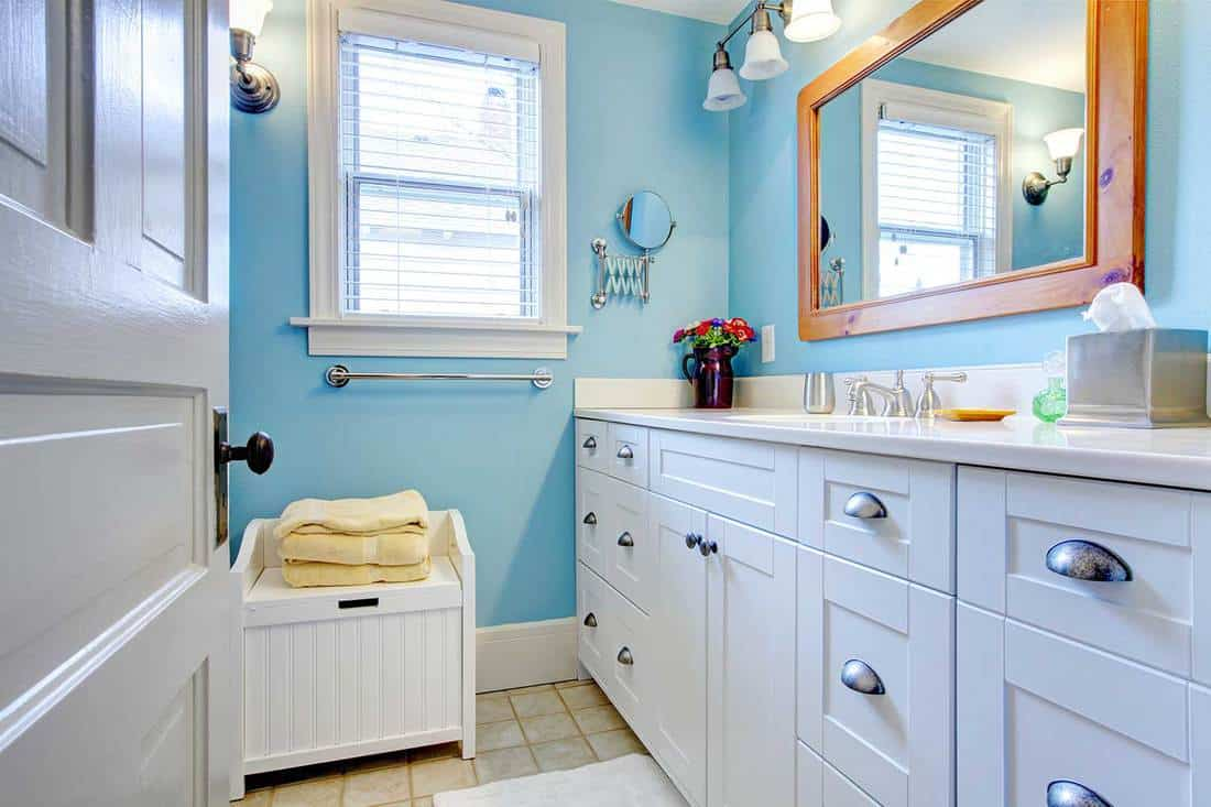 Blue and white bathroom with lots of storage space