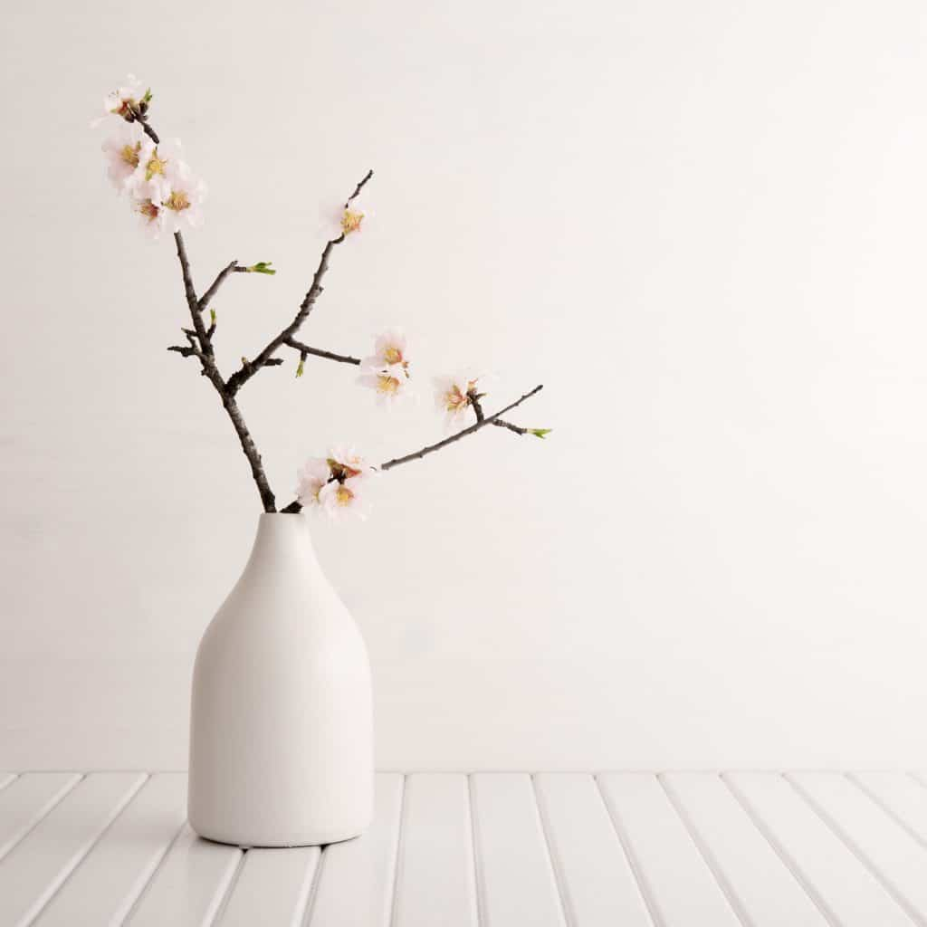Cherry blossom on a white vase inside a white living room