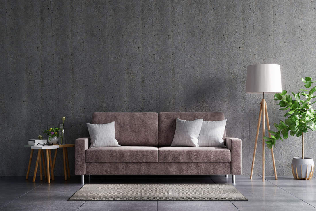 Concrete wall living room with sofa and decoration, 11 Basement Wall Color Ideas To Inspire You