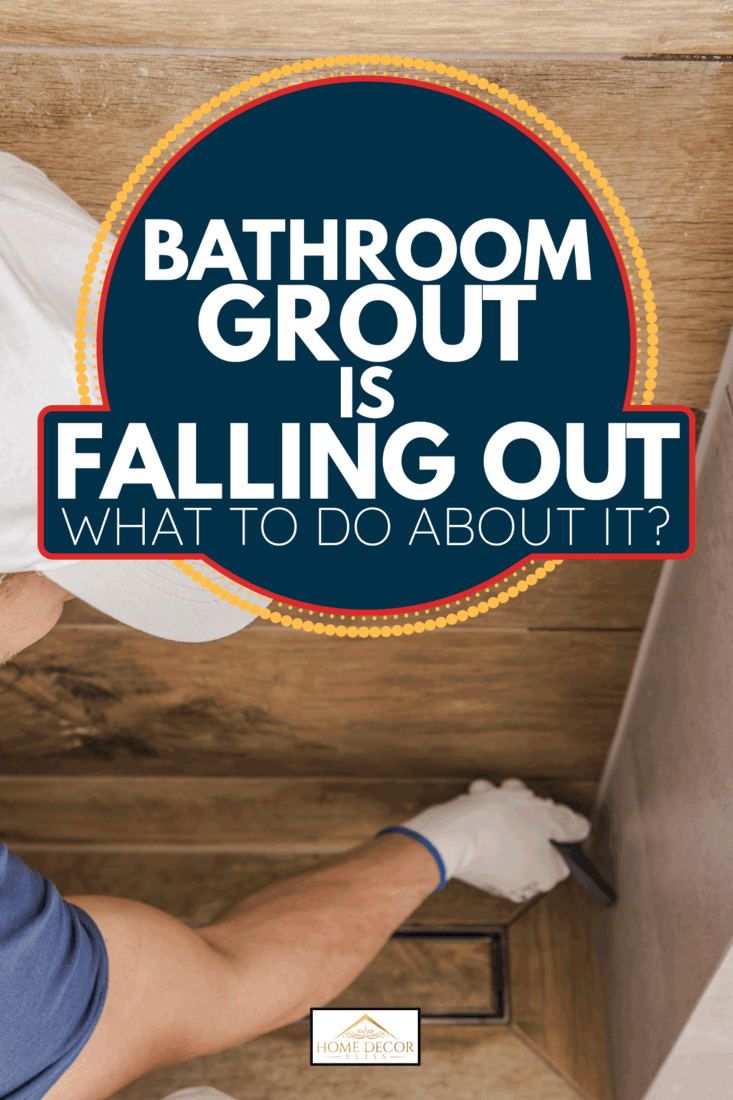 Contractor Worker Sealing Bathroom Shower Cabin Ceramic Tiles. Bathroom Grout Is Falling Out - What To Do About It