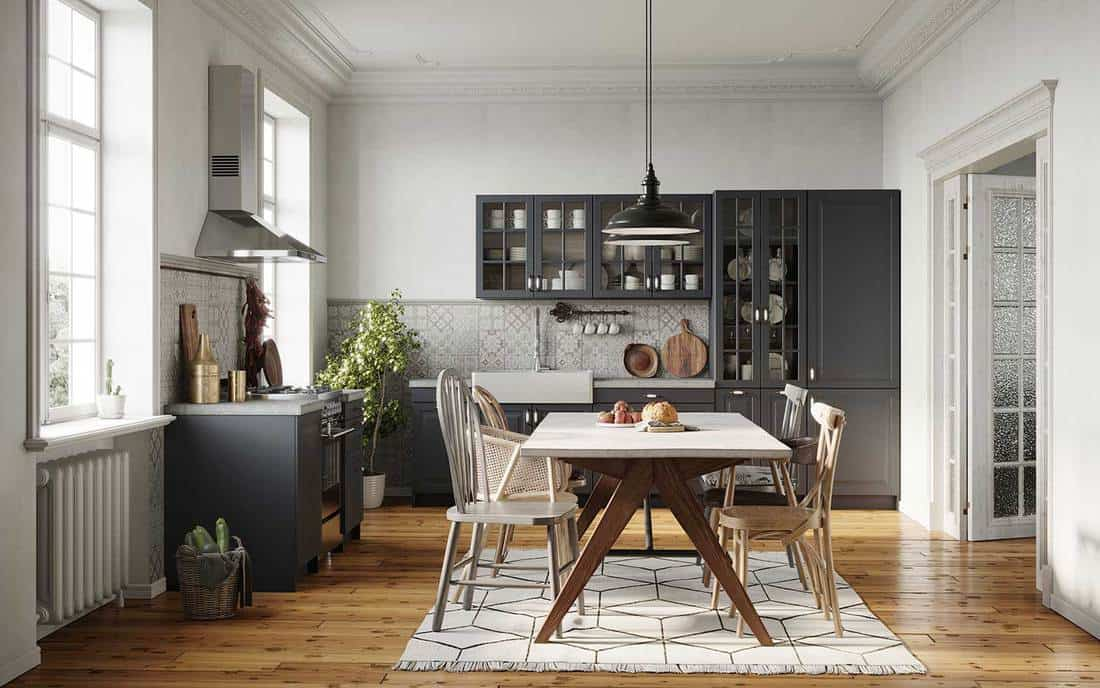 Dining room in a modern kitchen