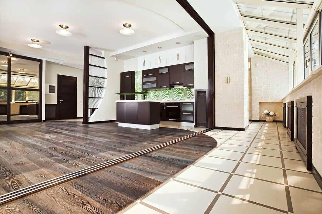 Empty large luxury kitchen interior