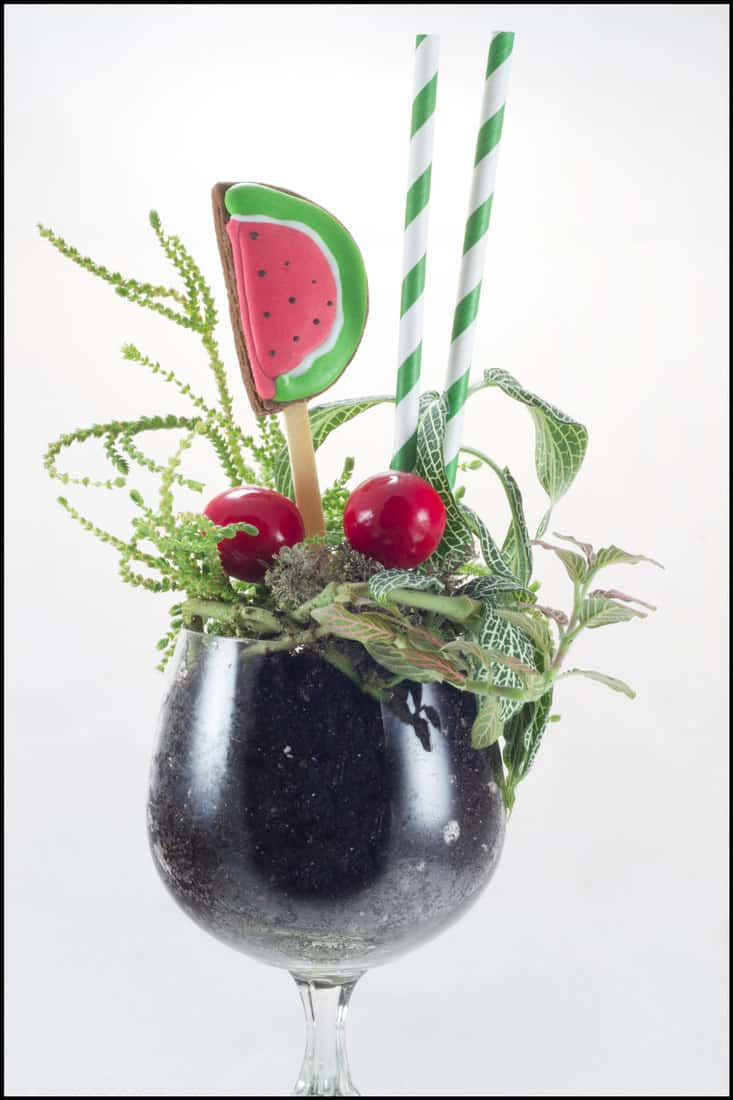 "Flower arrangement ""Flower cocktail"" with gingerbread on light background"