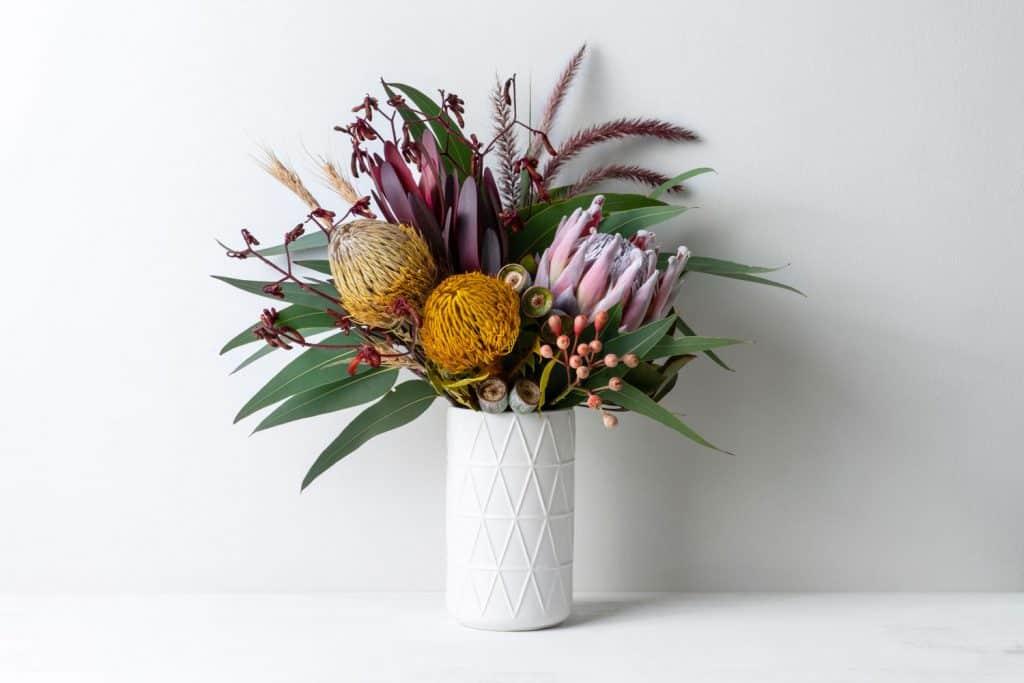 Gorgeous flower arrangement on a gray background