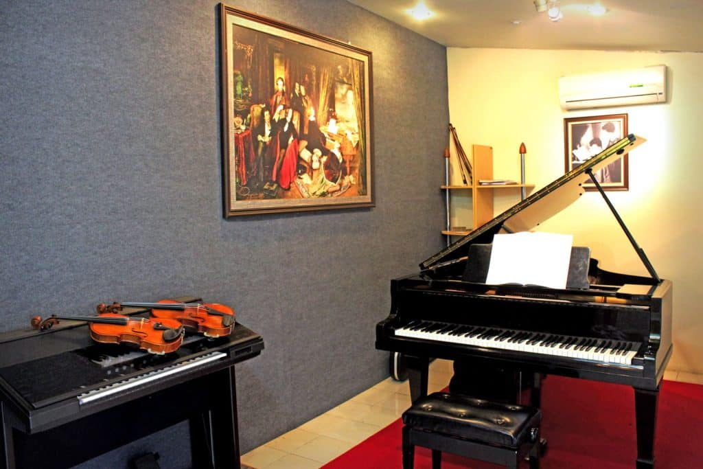 Interior of a classic designed basement floor with a red colored carpet
