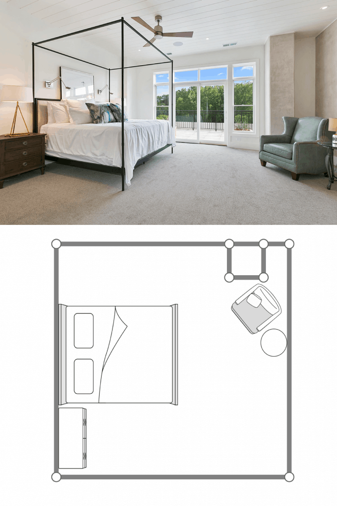 Interior of a gorgeous white painted bedroom with a bed with metal framing, carpeted flooring, and a huge sliding window