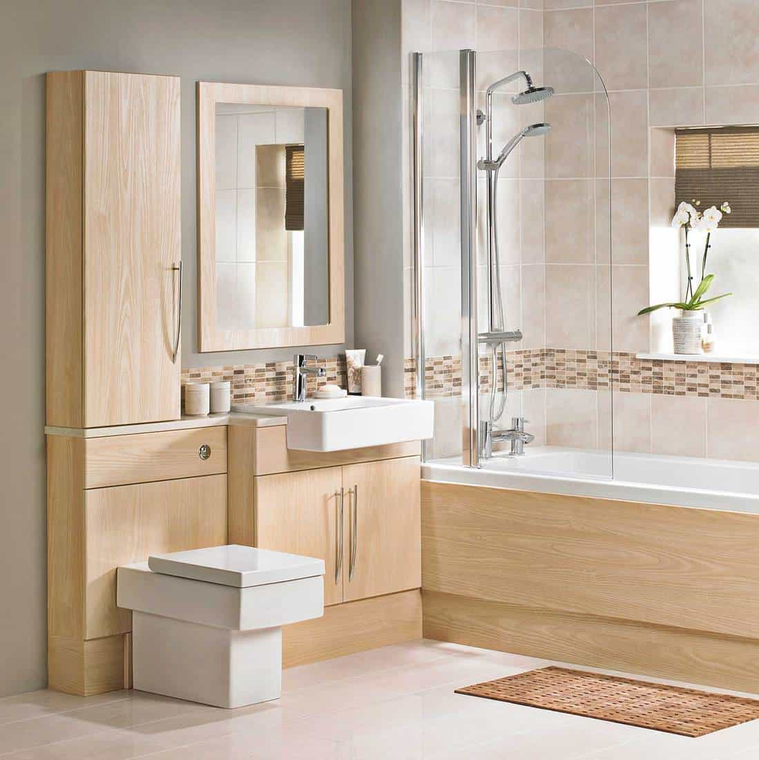 Interior of a luxurious bathroom in wooden tone