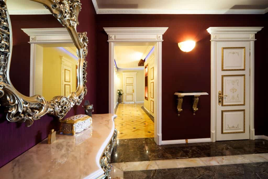 Interior of an elegant and luxurious house with velvet colored wall