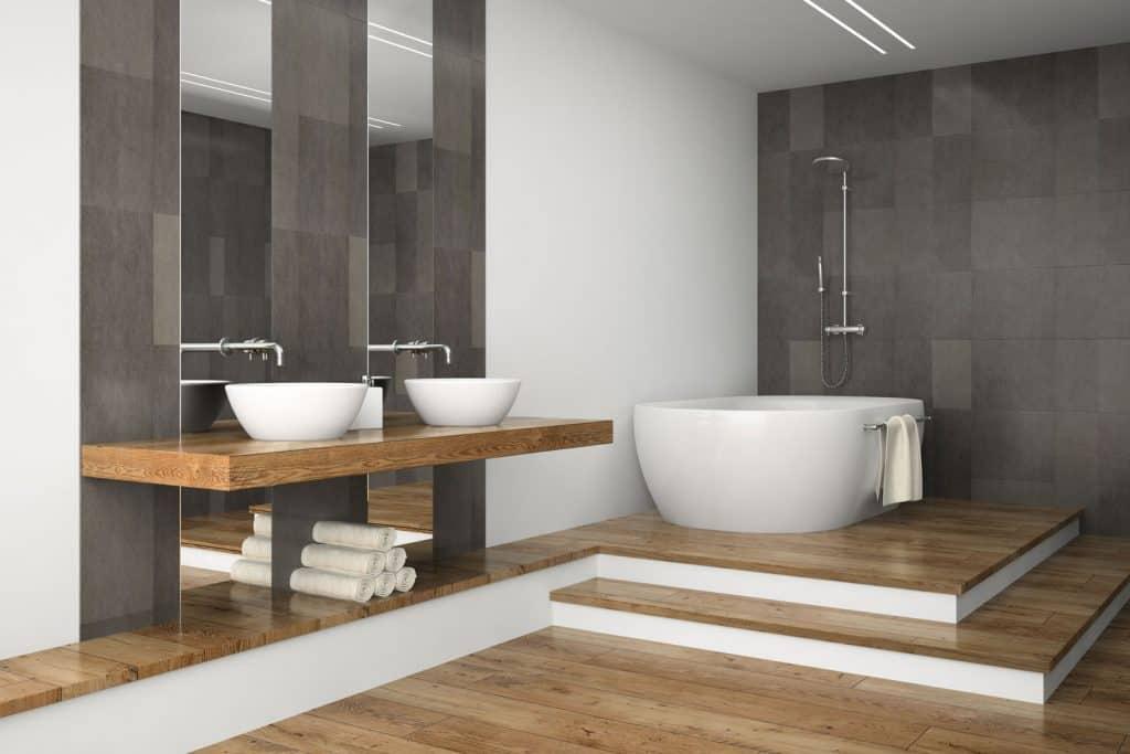 Interior of an ultra contemporary bathroom with a huge ceramic bathtub