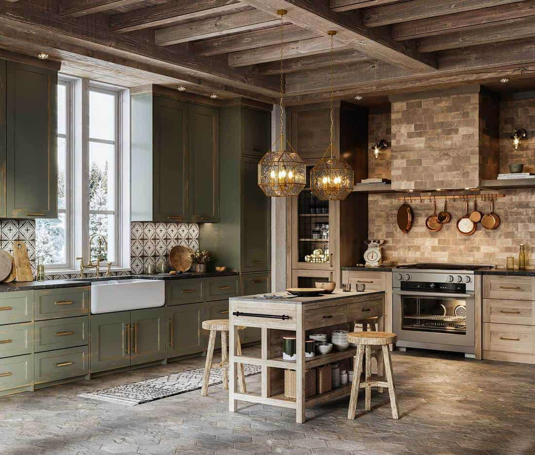 Kitchen island with stools in cottage