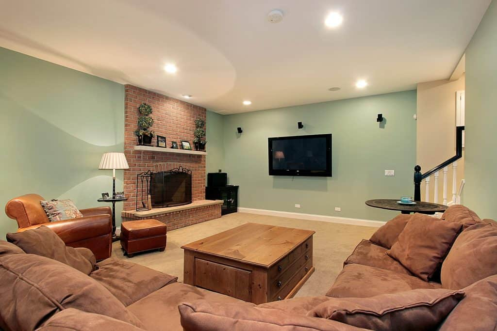 Lower level family room with mint wall