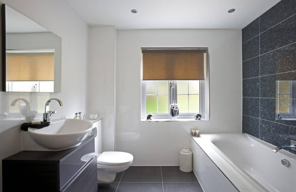 Luxury bathroom with gray vanity
