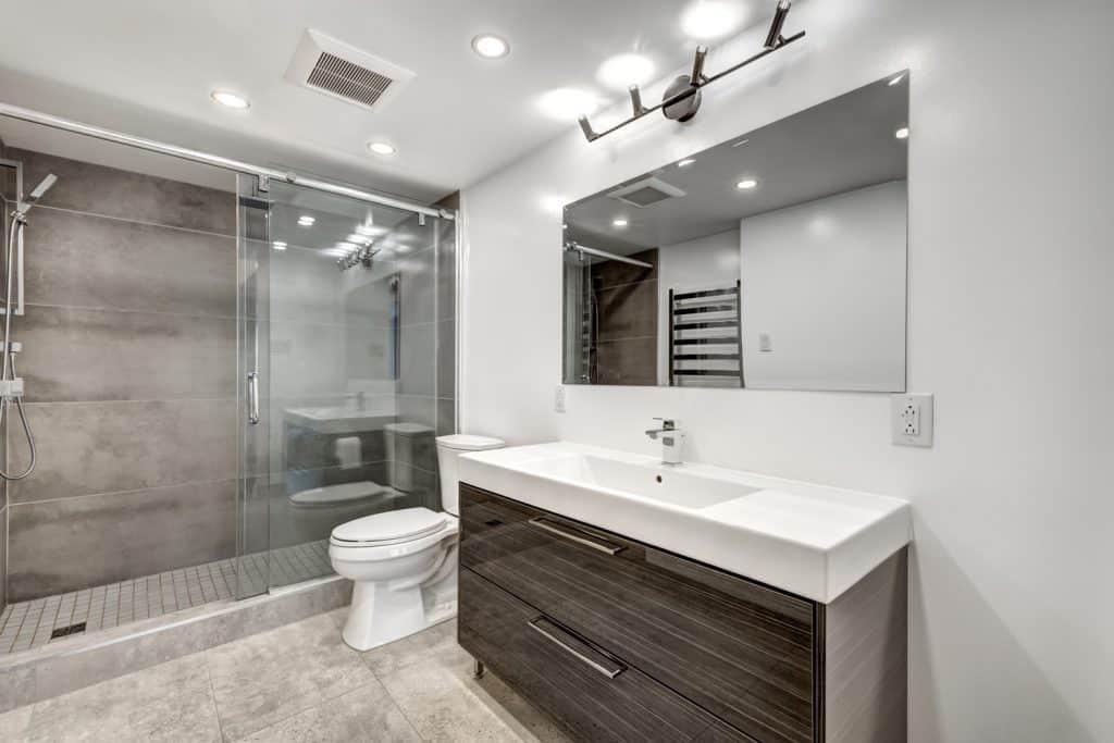 Luxury modern renovated apartment bathroom