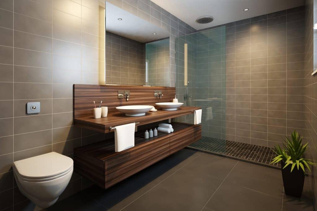 Modern Bathroom with Wood Vanity