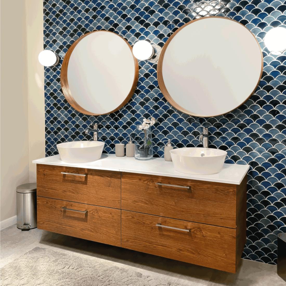 Modern bathroom with double vanity cabinet