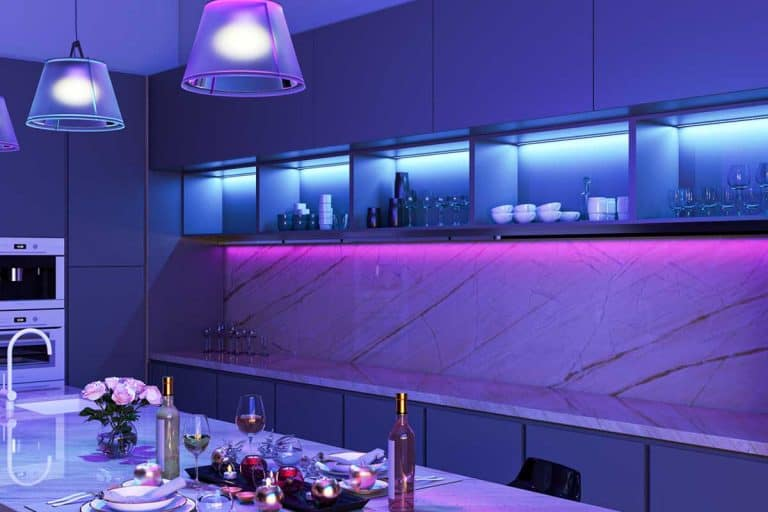 Modern kitchen with colored LED lights, How To Install LED Strip Lights - 5 Easy Steps!