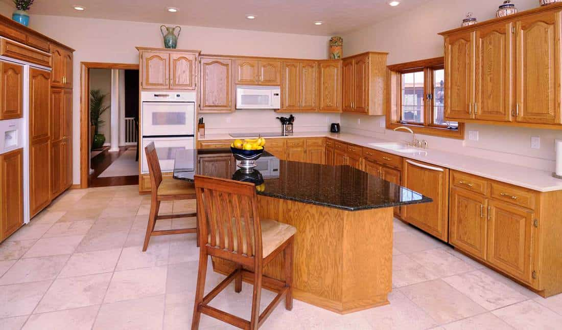 Modern kitchen with hardwood cabinetry